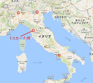 イタリアの地図,トスカーナ州