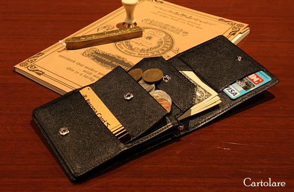 カルトラーレ(Cartolare),CMW00002 メモできる本革二つ折り財布| 小銭入れ付き,小銭入れ,コインケース